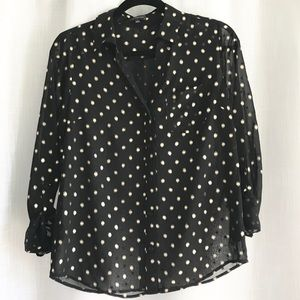 The Limited Black Long Sleeve Shirt with Gold Dots